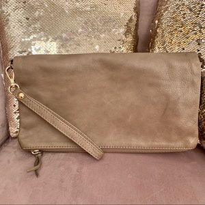 Alberta DiCanio Leather Foldover Clutch Greige